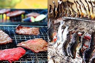バーベキューイメージ / 炭で焼いた川魚
