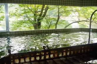 源泉かけ流しの内湯からは湖を望む