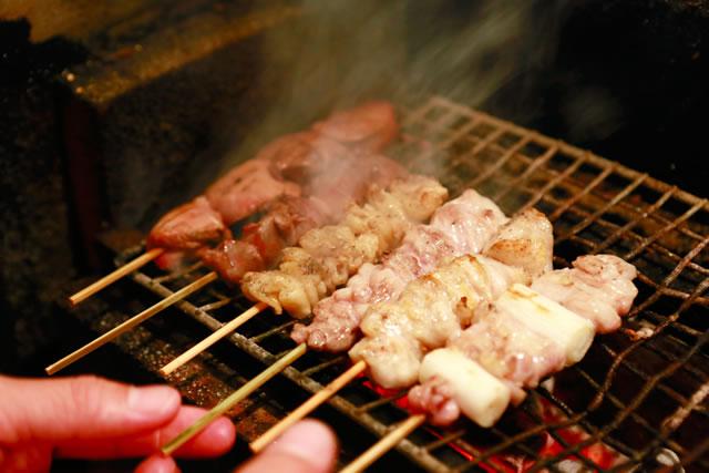 群馬県産の地鶏を使用した串焼きの数々